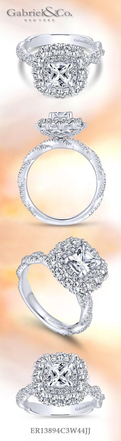 Gabriel & Co.-Voted #1 Most Preferred Fine Jewelry and Bridal Brand. 14k White Gold Cushion Cut Double Halo  Engagement Ring