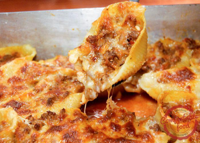 comfortable food - cheesy, beefy stuffed shells