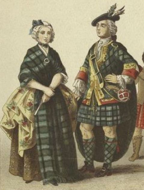 """English And Scottish Dress, 18th Century. [Illustration created in the 19th century by  Albert Kretschmer (1825-1891)].  Printed on border: """"Scotch: 11. Lady of rank ; 12. Highland gentleman."""""""