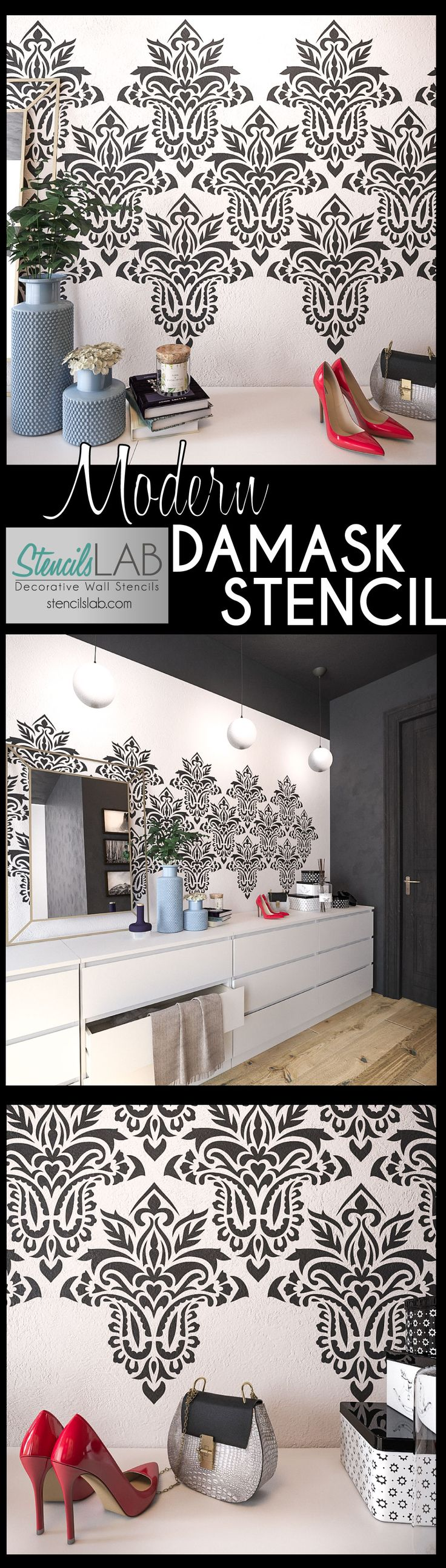 This Sierra- Modern Damask Wall Stencil is an excellent choice to add a timeless and elegant flair to walls at your home. Our large sheet reusable modern wall stencils now make it possible to achieve professional results and to refresh the design of your interior!