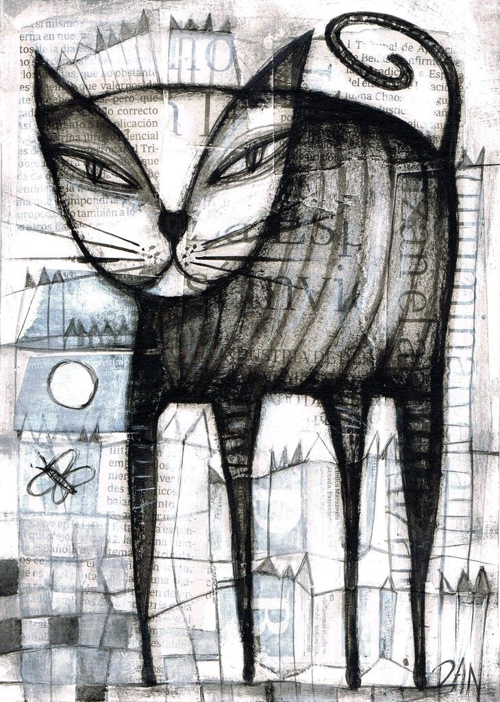 Outsider Art Show | Details about DAN CASADO outsider folk art CAT original collage ...