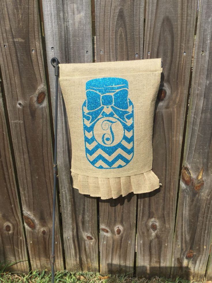 FREE SHIPPING - Garden Yard Flag Burlap Mason Jar with Monogramming Initial by TheLittleShopTwo on Etsy