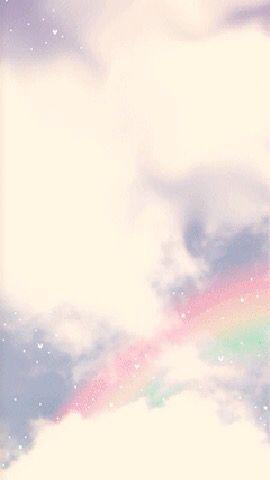 Pastel pink blue rainbow clouds sky iphone phone wallpaper background lock screen