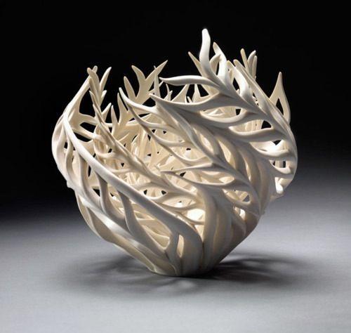 Swirl vase. Handscuplt with white crayola air dry clay