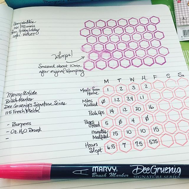 WEBSTA @ michelle_c_roebuck - I've fallen down the #bulletjournal hole and I don't wanna climb out! Found a honeycomb stamp at Hobby Lobby today and a quick count told me it was 7 by 6... Sounds like a weekly habit tracker to me!! Here's my test page. #bujolove #bulletjournaljunkies