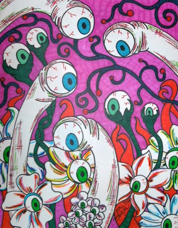 Eyeball Flowers and Creatures, Original Drawing 9x12 Sharpie Artwork Colorful Macabre and Horror Art Alternative Gift Idea Wall Decor Creepy