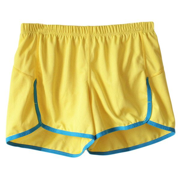 Fashion Ladies Neon Color Lining Shorts Yellow ($15) ❤ liked on Polyvore featuring shorts, yellow, neon yellow shorts, yellow shorts, lined shorts and neon shorts