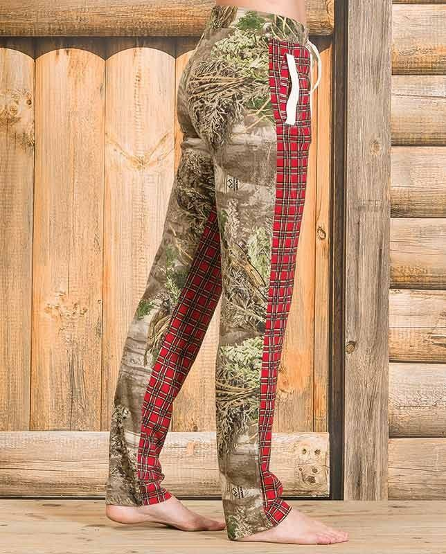 """Realtree Girl Women's """"Fox"""" Chili Pepper Plaid Realtree Max-1 Camo Lounge Pants - Realtree Girl Women's """"Fox"""" Chili Pepper Plaid and Realtree Max-1 Camo Lounge Pants These lounge pants are a nod to classic hunting and lodge gear. They feature a paneled construction with chili pepper plaid on the front contrasted with a Realtree Max-1 camo pattern on the back and around the waist. These comfy lounge pants feature two welt pockets with ivory satin trim and a matching draw string."""