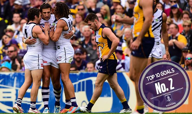 No. 2   What a team goal - The captain was out numbered and held off two Eagles defenders until Michael Barlow sold some candy and snapped this beauty from the boundary during Sandilands' 200th.