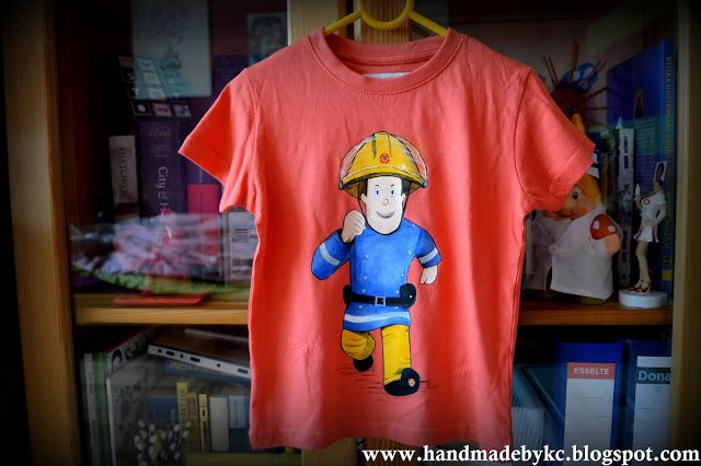 Hand painted t-shirt with fireman Sam!  Ręcznie malowana koszulka ze strarzakiem Samem ! :)  #firemansam #fireman #sam #tshirt #children #kids #fashion #handmade #handpainted #diy #red