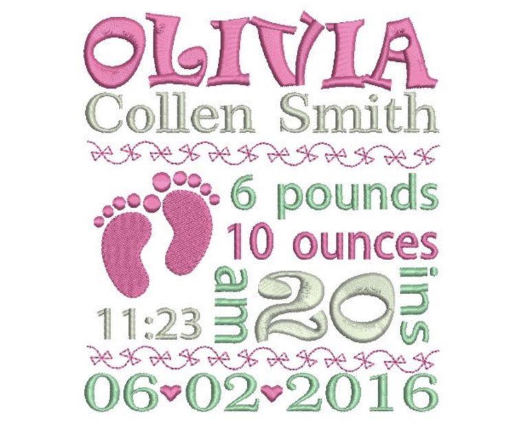 23 best Baby Announcement Embroidery Design images on Pinterest - confirmation email templatebaby chart