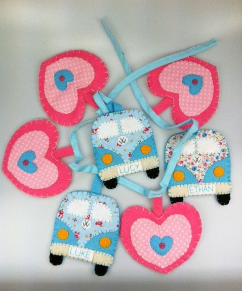 Bunting felt vw campervan and heart personalised £20.00