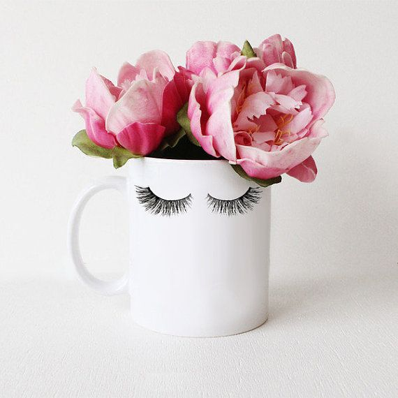 Lashes | White Coffee Mug  Care Instructions: Wash before first use. Dishwasher top rack safe. Due to its handmade nature, shape of white mug may
