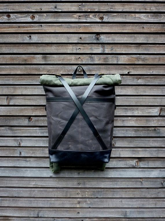 Waxed canvas rucksack/backpack with roll up top and oiled leather bottem…