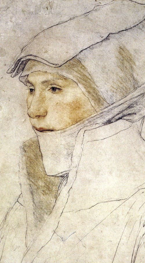 "previsualist: Hans Holbein the Younger(1498–1543) - ""Portrait of Dorothea Meyer, née Kannengiesser"" 1525–26, chalks on white-primed paper, 39.5 × 28.1 cm."