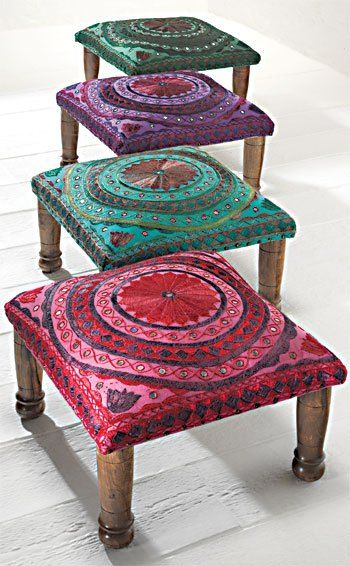 Colourful short stool or footrest