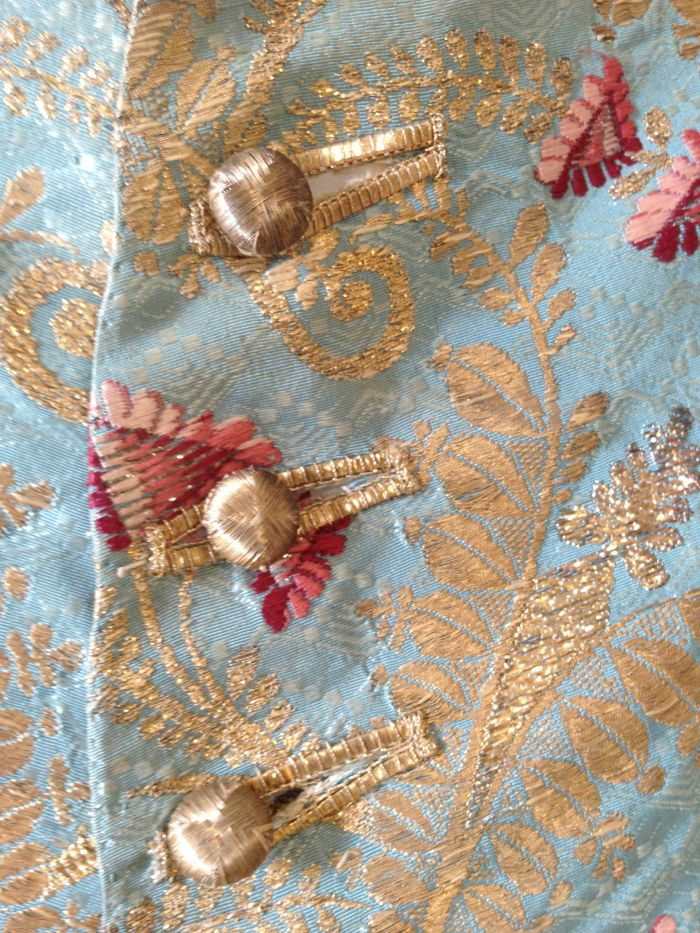 Detail Damask waistcoat in 1770s style, using fabric from 1755. Wade collection, Berrington Hall, inv. no. 1349699. ©National Trust