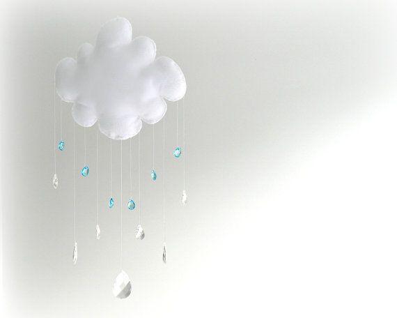 Rain Cloud mobile - baby mobile - crystal mobile - sun catcher - clear and blue crystal rain drops - Nursery Decor on Etsy, $60.00