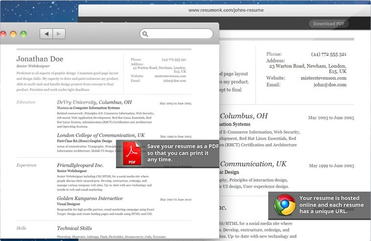 Share your resume online or save it as PDF Online resume