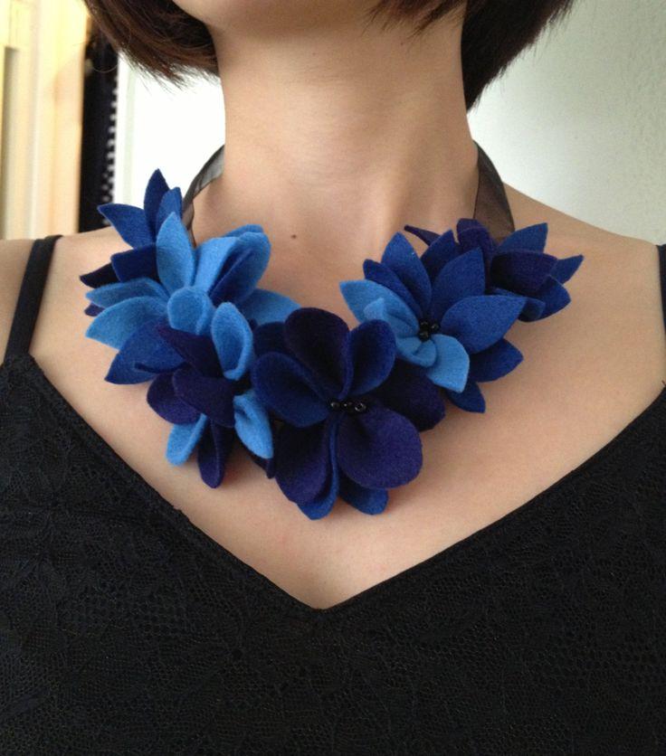 Felt flower necklace /Statement necklace / royal blue felt / bridesmaid accessories . $19.00, via Etsy.