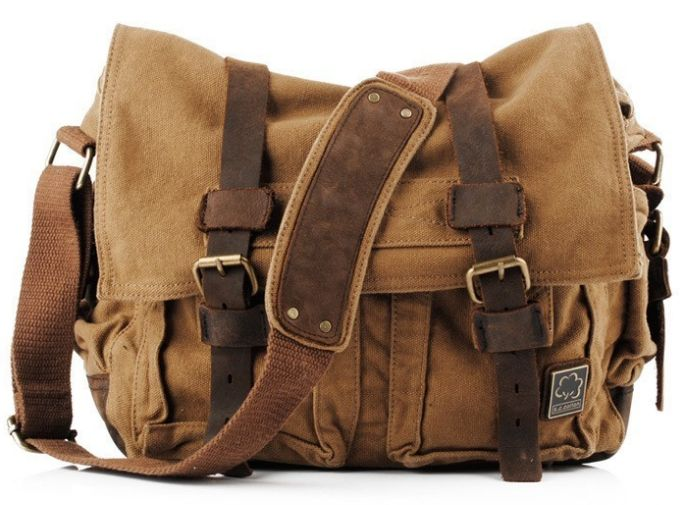 Brown Military Style Messenger Bag Product Description * This military style canvas messenger bag for men and women. * High-End Pre-washed Canvas Bags with leather straps. * Dual leather straps with a