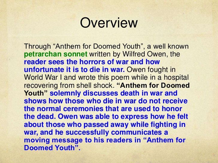 anthem for doomed youth an explanation and analysis mp  anthem for doomed youth an explanation and analysis mp4 wilfred owen