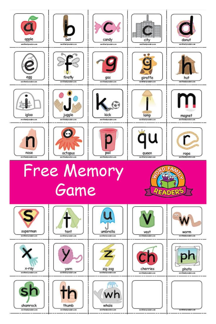 Free Memory/Concentration Game Letter Cards Learning
