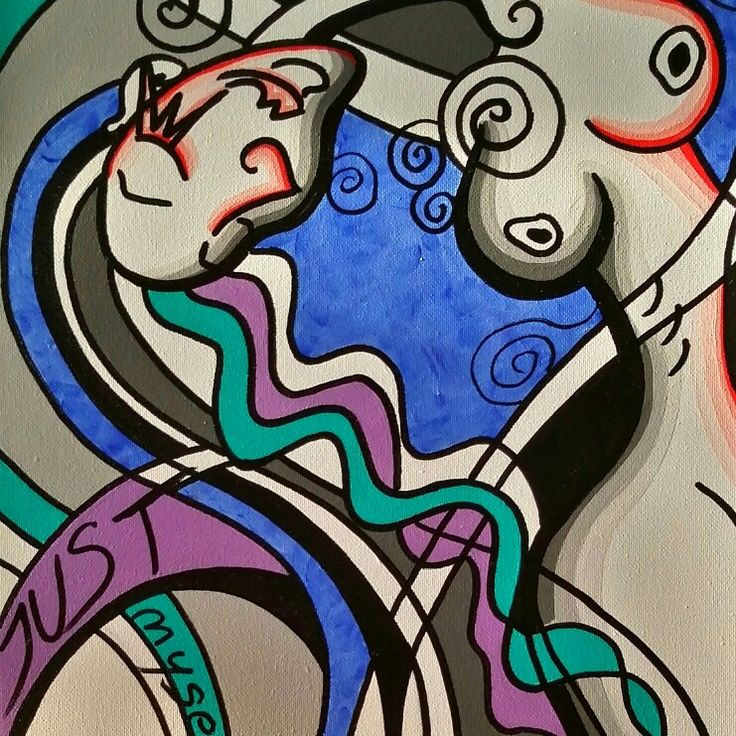 """Title: Cubistic ladies          """"Just myself """"  Size: 40x30cm Medium: acryl Date:2015 ○ when you are alone and you feeling happiness inside of you.. what u use to do? ;-)"""