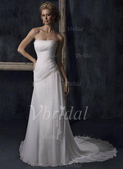 Wedding Dresses - $154.99 - A-Line/Princess Strapless Court Train Chiffon Wedding Dress With Beading Sequins Cascading Ruffles (00205001663)