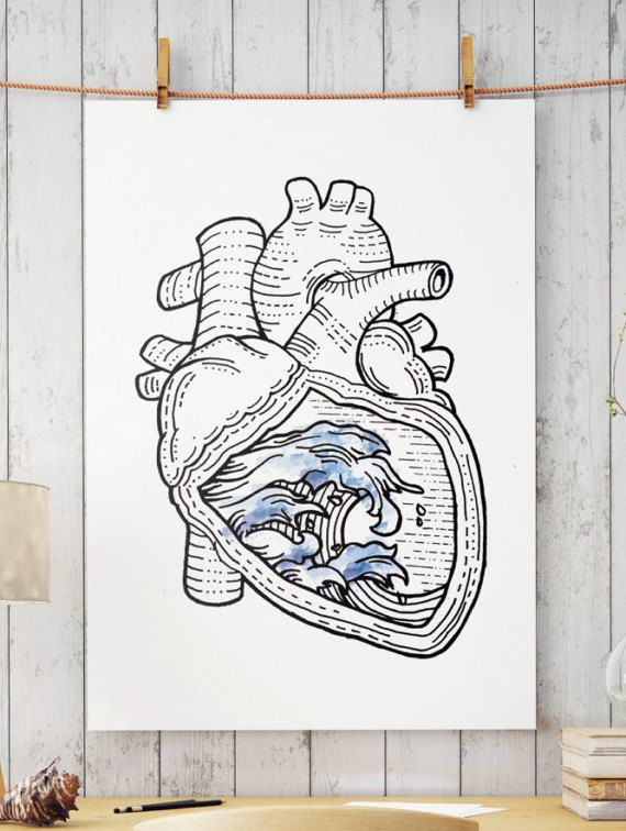 Hand drawn pen and ink art. OCEAN HEART / Perfect for your living / kitchen walls Great gift idea for your friends.  Big resolution of the picture, can be printed on larger formats.  Check out framed canvas as well: https://www.etsy.com/listing/498632358/wall-art-framed-canvas-ocean-heart?ref=shop_home_active_3   ZuskaArt : artwork | watercolor painting | art prints | canvas art | framed art | canvas painting | watercolour | art prints | art posters | w...