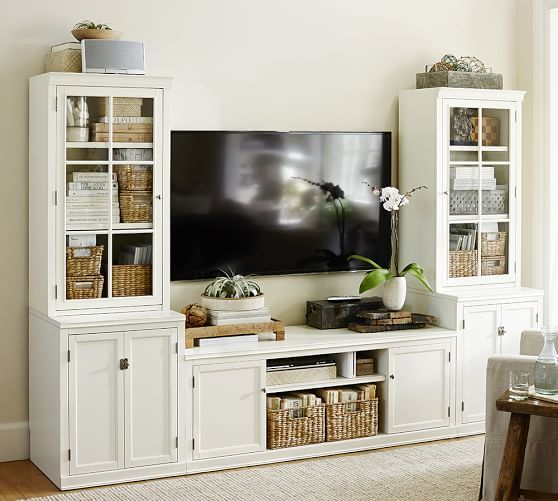Logan Medium Media Suite   Pottery Barn. I will replace the media stand for the platformed storage bed.