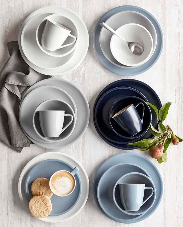 Le Creuset Matte Dinnerware Collection In French Grey Mineral Blue And Navy Matte Dinnerware Le Creuset Creuset