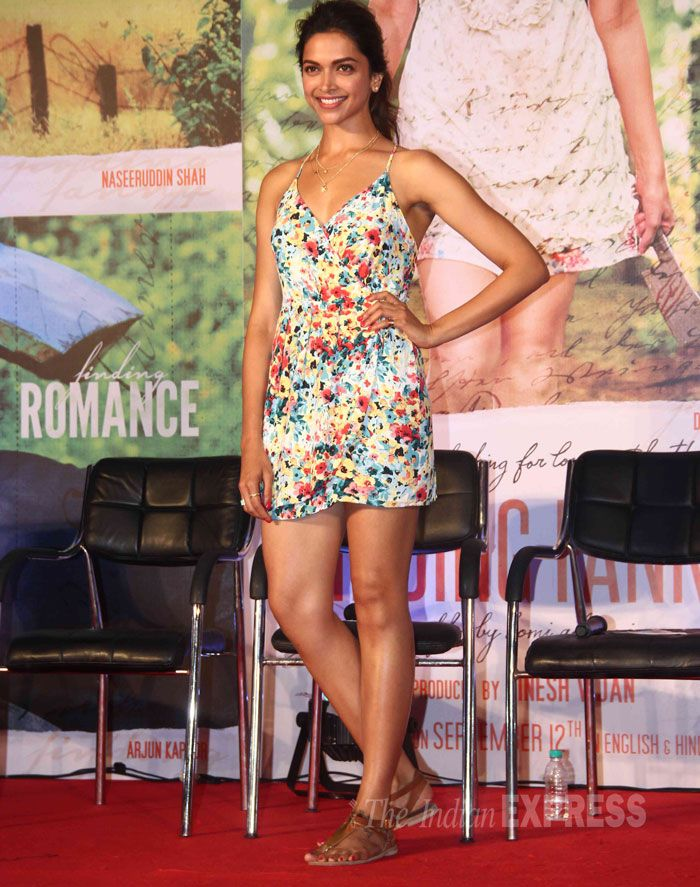 Deepika Padukone in a floral summer dress with t-strap sandals and a messy ponytail at the music launch of Finding Fanny. #Bollywood #Fashion #Style #Beauty