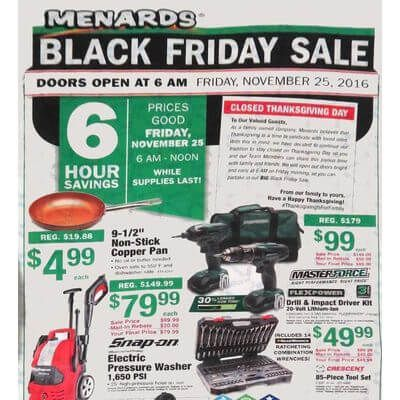 View the Menards Black Friday 2016 Ad with Menards deals and sales