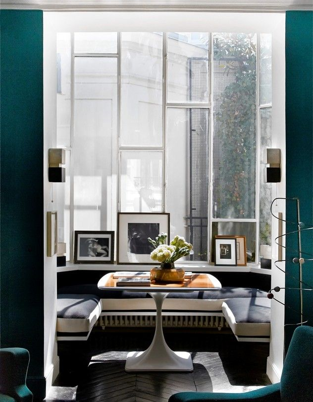 Window Seats in the Paris residence of Yvan Attal and Charlotte Gainsbourg | Picture by Neil Bicknell | via Wall Street Journal