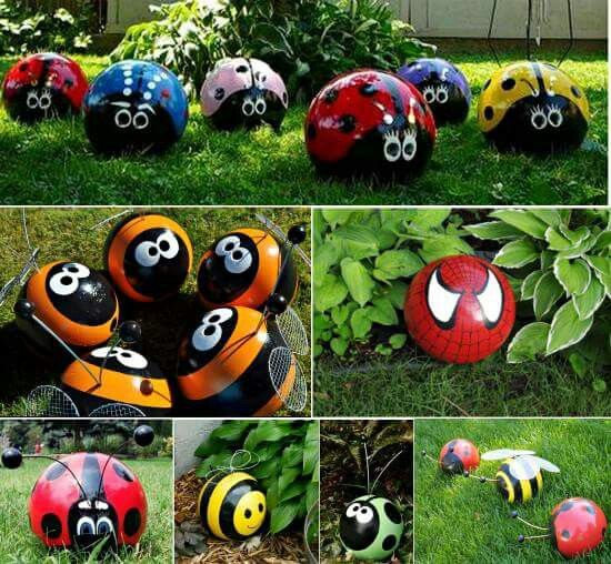 Old bowling balls are a put to a good use as garden accents