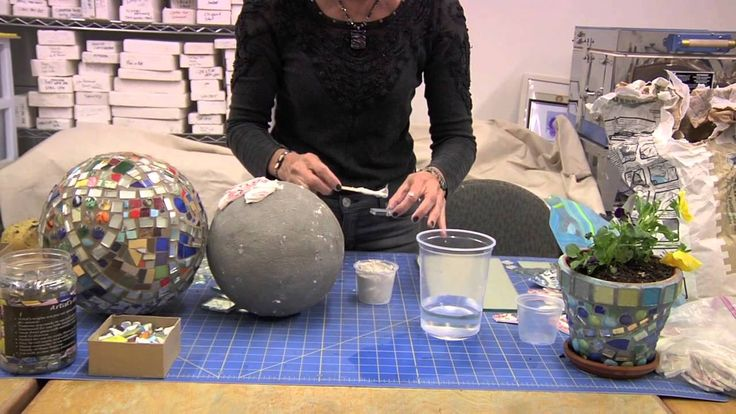 How to Use Thinset to Attach Mosaic Pieces to a Gazing Ball - Mosaic Artist Karen Silton instructing how to mix thinset and attach mirror and china plate pieces to a garden gazing ball.
