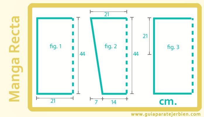 Las mangas de sisas rectas son las mas sencillas tanto de  calcular como de tejer, además  facilitan el delantero y espalda del jersey porqu...