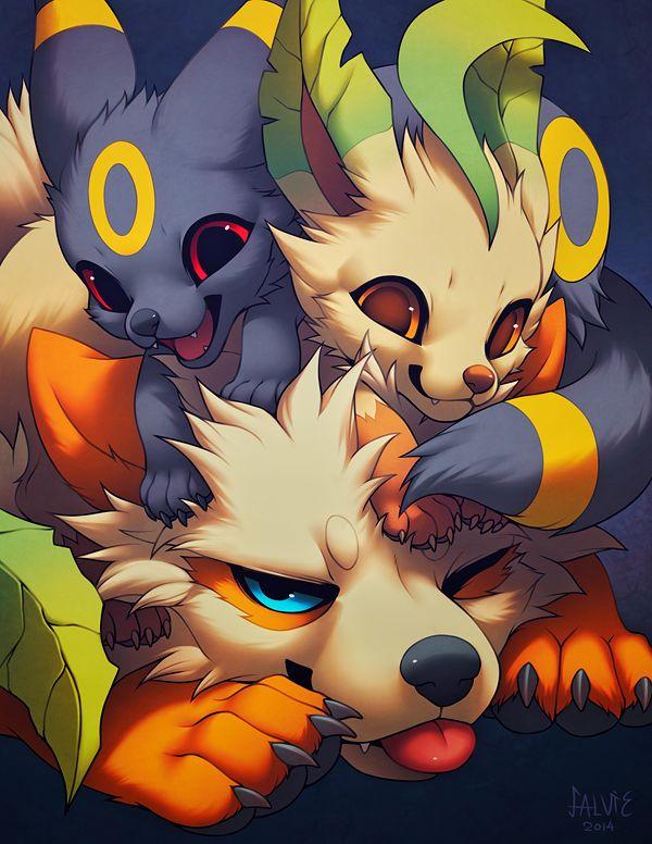 Pile o' Love by falvie.deviantart.com on @deviantART (Arcanine, Umbreon & Leafeon)