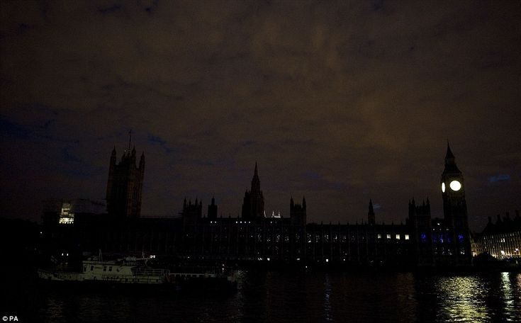 In the dark: The Houses of Parliament in London after the lights were turned off as part off the national 'Lights Out' campaign of remembrance