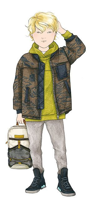 AH17 KIDS - On revisite les basiques : le teddy se porte droit en drap de laine imprimé et détails nylon sur sweat couleur rallongé. Basket montante monochrome et sac à dos technique. - PeclersParis:Tendance Prêt à Porter Kids AH 2017-18 - Tendances (#619881)