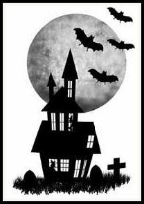 free halloween house digital stamp set