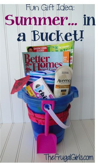 It's easy to give the gift of Summer… in a Bucket! ~ from TheFrugalGirls.com #gift #ideas