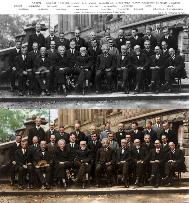 Twenty-nine of history's most iconic scientists in one photograph - captured at the Solvay Conference in 1927. attendees included Albert Einstein, Niels Bohr, Marie Curie, Erwin Schrödinger, Werner Heisenberg, Wolfgang Pauli, Paul Dirac and Louis de Broglie, among others. (Top: original photo; bottom: colorized.)