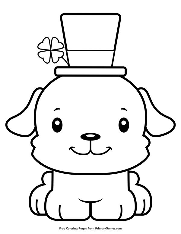 St. Patrick's Day Puppy Coloring Page • FREE Printable