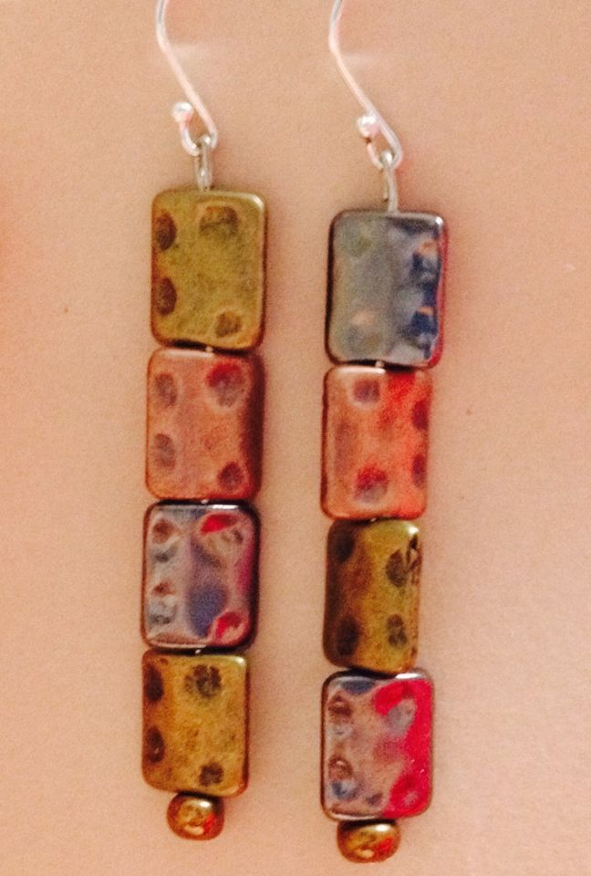 Authority.  Tricolour dented metal bead earrings.sterling silver hooks.  $20 at www.sozojewellerydesigns.com