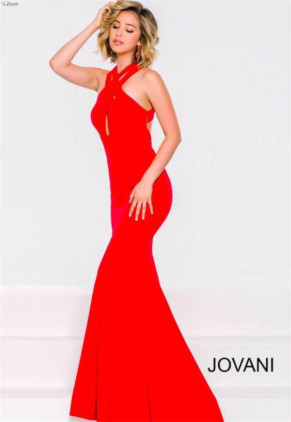 Halter Neck Cutout Red Mermaid Prom Dresses from Jovani 40379 Cheap