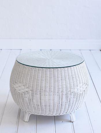 Round Coffee Table White Wicker · Rattan Coffee TableGlass Top ...