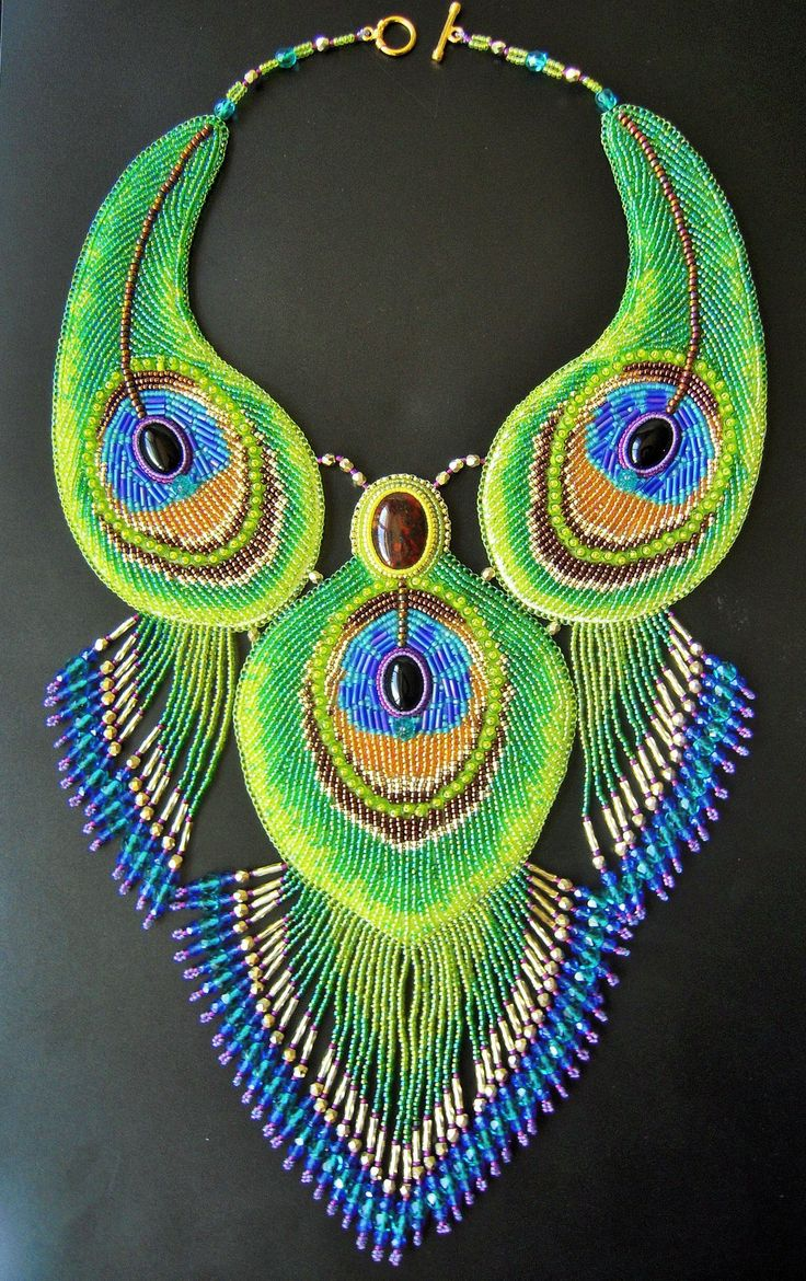 Beautiful Peacock feather necklace using bead embroidery technique from Priscillascreations.deviantart.com on @DeviantArt