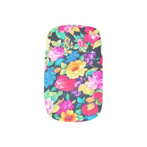 #Neon #Floral #Girly #Trendy #Pink #Teal #Fashion #Pattern #nailart, #nails #stickers #minxnails @girly_road